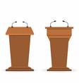 wooden podium tribunes set stand rostrum vector image