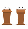 wooden podium tribunes set stand rostrum with vector image