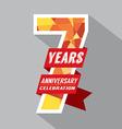 7th Years Anniversary Celebration Design vector image