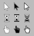 cursor set - mouse hand arrow hourglass vector image