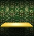 Luxury yellow shelf on green wallpaper vector image