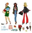Set of pretty fashionable women vector image
