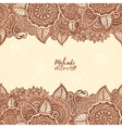Henna tattoo colors Indian style floral frame vector image