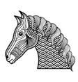 adult coloring monochrome horse drawing vector image