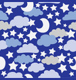 blue and grey clouds with white stars vector image vector image