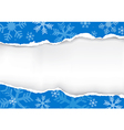 Blue Ripped christmas paper vector image vector image
