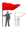 businessman holding big red flag vector image vector image