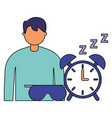 businessman with alarm clock spleep vector image