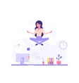 businesswoman doing yoga vector image vector image