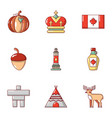 canadian style icons set cartoon style vector image