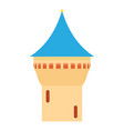 castle tower with blue pointed dome icon vector image