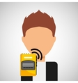 character man tape recorder icon vector image vector image