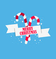 christmas candy cane with ribbon and snowflakes vector image