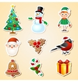 Christmas symbol sticker set vector image