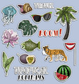 colorful sticker set traveling concept vector image vector image