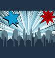 comic cityscape bright explosive concept vector image