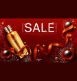 cosmetics christmas sale banner beauty product vector image vector image