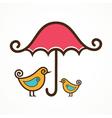 Couple of cute birds under pink umbrella vector image