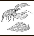 crayfish lobster pattern coloring book page vector image