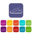 cumulus cloud icons set flat vector image vector image