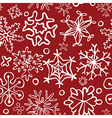 cute doodle snowflakes seamless pattern vector image