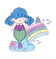 cute mermaid with rainbow in clouds vector image