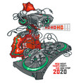 dj robot santa 2020 and party concept vector image vector image