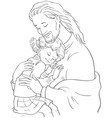 embrace god jesus hugging girl coloring page vector image