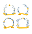 floral wreath decorative composition with ribbon vector image