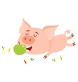 Funny little pig lying and eating apple three vector image vector image