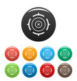 futuristic aim target icons set color vector image