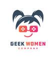 geek gaming logo design vector image vector image