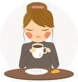Girl drinks tea vector image