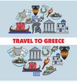 greece travel landmark symbols poster vector image vector image