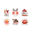 grill fish bistro logo design set hot grill best vector image