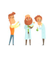 group of men scientists in laboratory funny vector image vector image