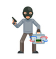 gun armed terrorist suitcase bomb explosion threat vector image