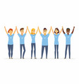 happy volunteers holding hands - cartoon people vector image