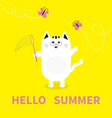 hello summer white cat pink butterfly insect net vector image vector image