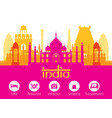 india landmarks skyline with accommodation icons vector image vector image