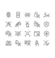 line biometric icons vector image vector image