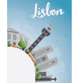 Lisbon city skyline with grey buildings blue sky vector image vector image