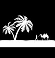 man on the camel in palm trees vector image