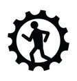 man running inside a gear icon vector image