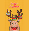 merry christmas card funny reindeer cartoon vector image vector image