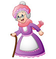 old woman with walking a stick vector image