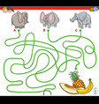 paths maze game with elephants and fruits vector image vector image