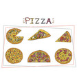 Pizza different types set margherita and