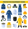 Protective Uniforms Equipment Flat Icons Set vector image