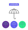 rainbow umbrella outline icons set vector image vector image